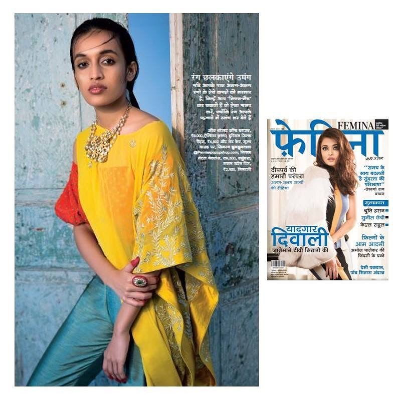 Our Mango embroidered cape featured in Femina Magazine