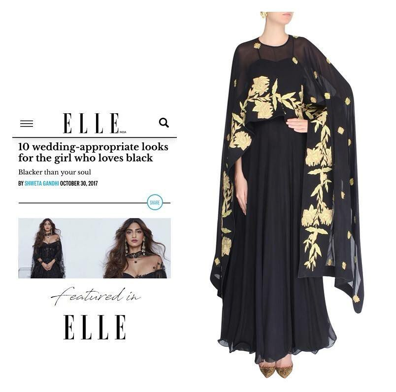 Our Black & Gold cape anarkali featured in Elle Magazine