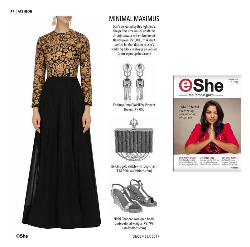 Our Black & Gold anarkali gown featured in Eshe Magazine