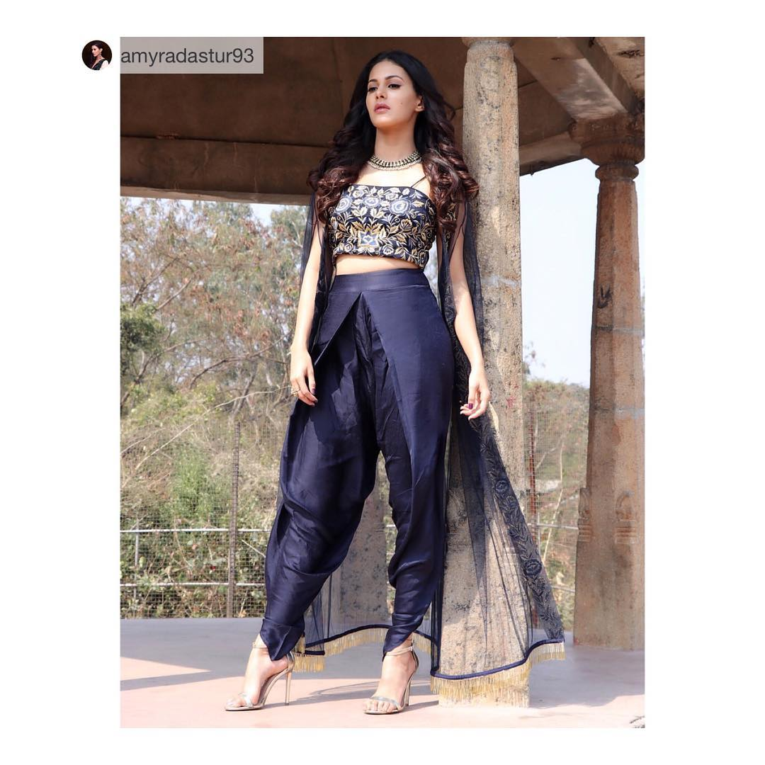 Actress Amayra Dastur spotted in our Blue cape and dhoti set