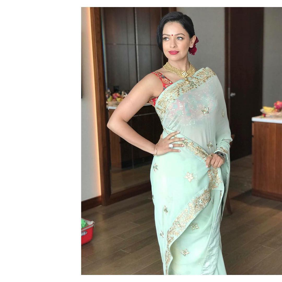 Actress Pooja Kumar spotted in our Mint green saari
