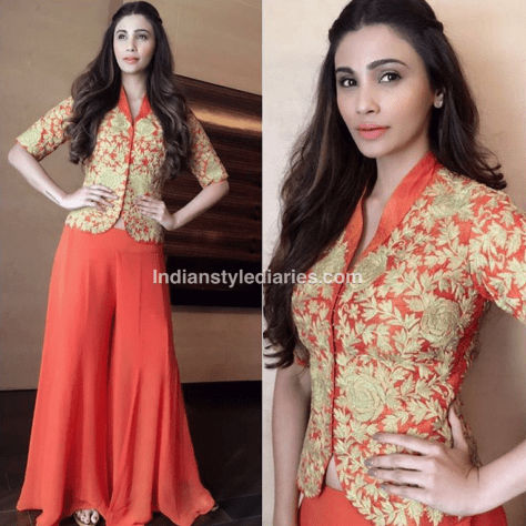 Actress Daisy Shah spotted in our Burnt orange palazzo and jacket