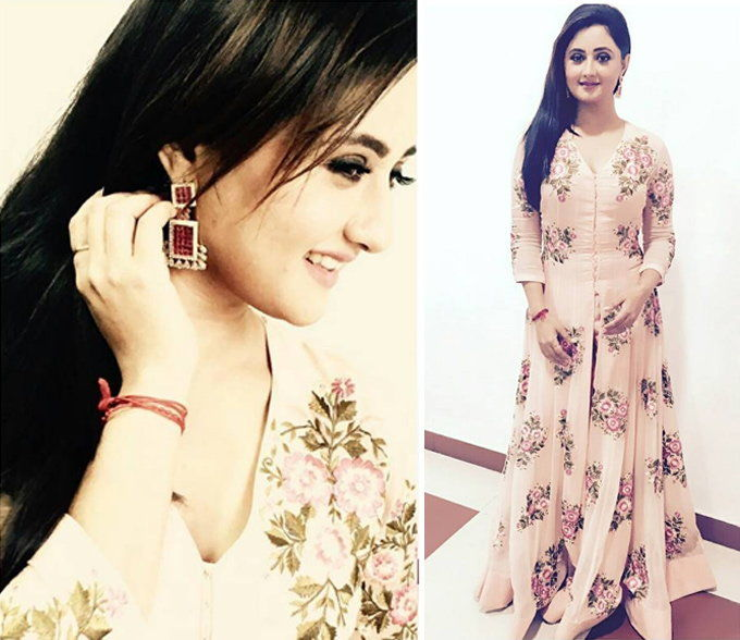 Actress Rashmi Desai spotted in our Peach floral anarkali