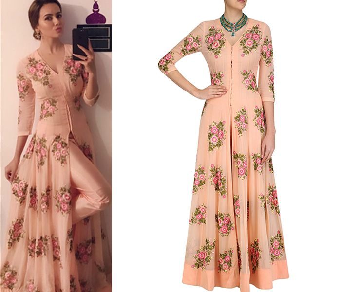 Actress Sana Khan spotted in our Peach floral anarkali