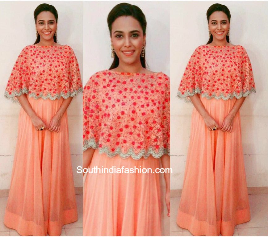 Actress Swara Bhaskar spotted in our Peach floral cape and anarkali