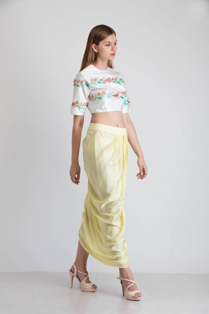 9a51a0df56 White crop top with a yellow dhoti skirt | Smriti Jhunjhunwala